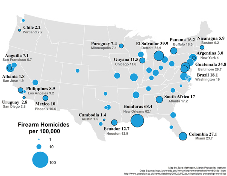 Eyeopening Video Compares Americas Annual Death Toll From - Map of us terrorist attacks