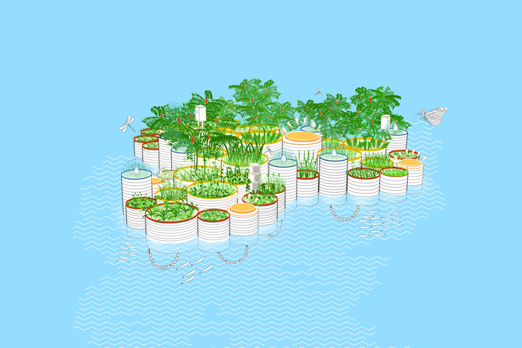 4_polluted waterway tiny floating garden