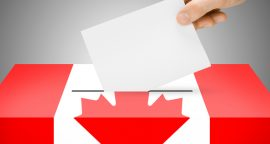 Ballot box painted into national flag colors - Canada