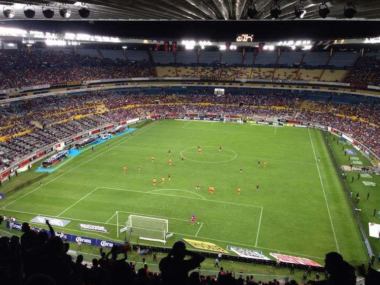 Date night in the hostile atmosphere of Mexican football. Atlas vs. Cruz Azul in Estadio Jalisco, Guadalajara.