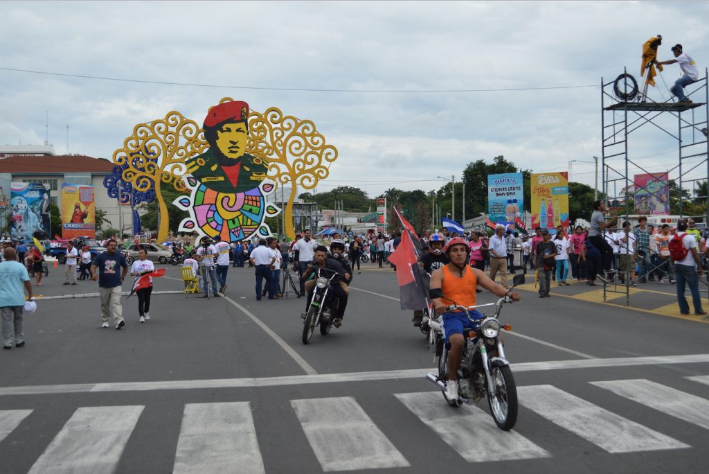 A monument of Hugo Chavez in Managua, Nicaragua on the 37th anniversary of the Sandinista Revolution in the country.