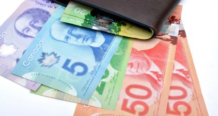 Canadian currency notes with perse Saving Concept