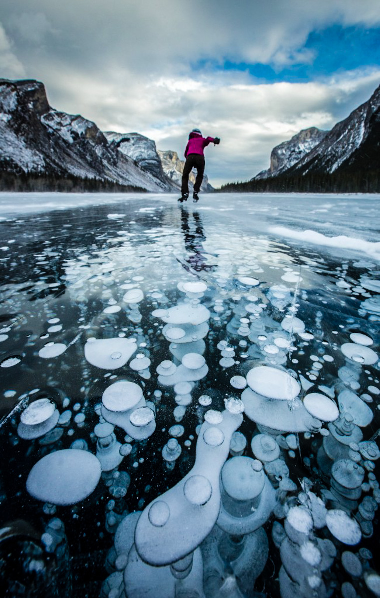 Image result for ice skating on ice bubbles abraham lake