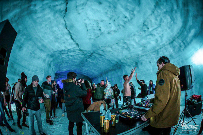 3_party inside a glacier Iceland