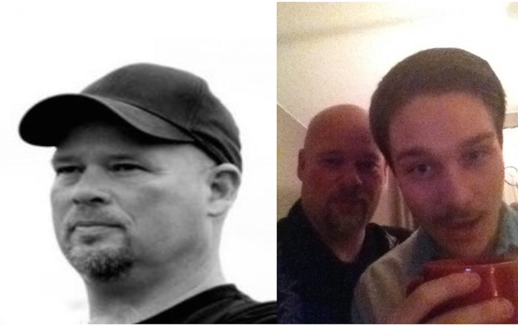 Left- My father, Tom Stuckey. Photo by Tessla Stuckey Photography. Right- My father and I: October 2014.