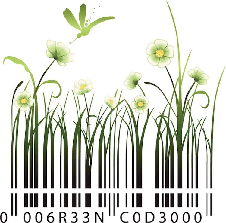 White flowers barcode